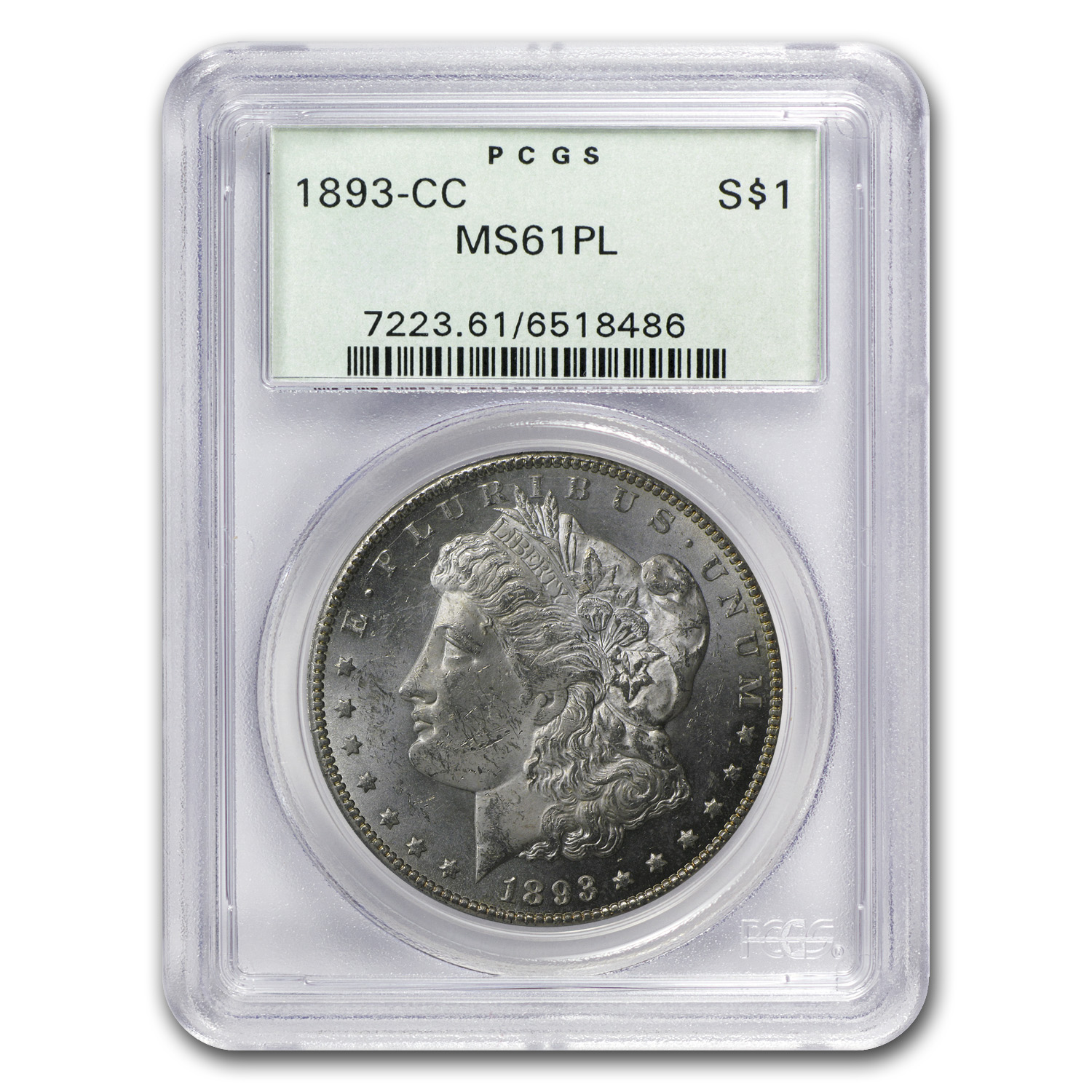 1893-CC Morgan Dollar MS-61 PL Proof Like PCGS